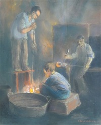 three glassblowers by herman heijenbrock