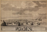ysvermaak op de rivier de maze, voor de stad rotterdam, zoo als het zich vertoond heeft in het begin van het jaar 1776 by robert muys