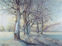 feldweg im winter by kurt weber