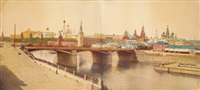 panoramic view of the kremlin over the moscow river (in joined 2 parts) by b. avanzo