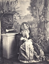 studio portrait of the photographer's mother maria de carmen vidoire moreno (marquise de las marismas) by olympe (count) aguado