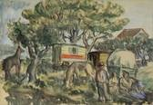 people and horsedrawn mobile homes in an orchard by herbert fiedler