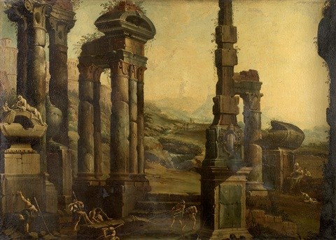 figures in an architectural capriccio by viviano codazzi