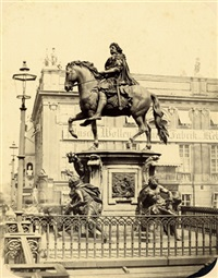 equestrian statue of the great kurfürst (+ view from schloßfreiheit over schloßbrücke with zeughaus in background; 2 works) by leopold ahrendts