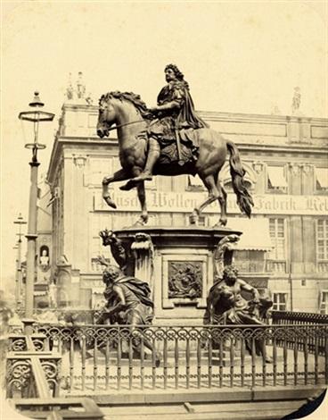 equestrian statue of the great kurfürst view from schloßfreiheit over schloßbrücke with zeughaus in background 2 works by leopold ahrendts