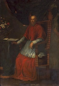 a portrait of a seated cardinal, full-length by scipione pulzone
