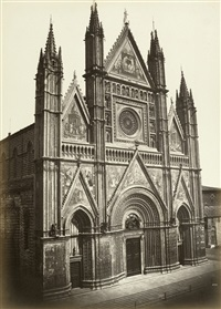 orvieto cathedral, frontal view and details (4 works) by leopoldo alinari