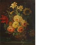 a still life with a sunflower, roses and other flowers by continental school