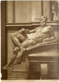 michelangelo figures of the tomb of lorenzo di piero de medici: il crepuscolo and l'aurora, florence (2 works) by fratelli alinari