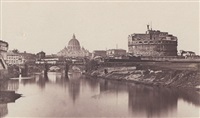 view of st. peter's basilica over the tiber river by james anderson
