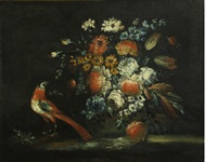 a floral still life with a bird by continental school