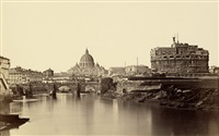 view of rome over the tiber river with the castel sant'angelo and st. peter's by james anderson