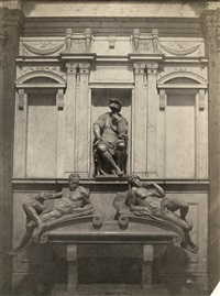 tomb of lorenzo di piero de medici with michelangelo's il crepuscolo and l'aurora, florence by fratelli alinari