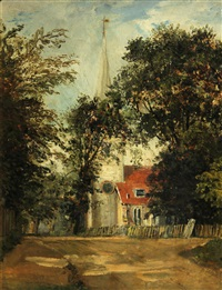 a view of a church, thought to be dedham church by john constable