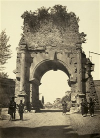 view of the arch of drusus by pompeo molins and gioacchino altobelli