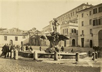 view of fontana del tritone, piazza barberini in winter by pompeo molins and gioacchino altobelli