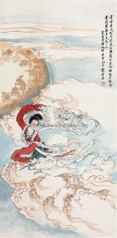 嫦娥奔月 goddess fly to the moon by liu lingcang