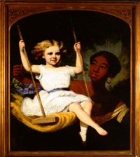a girl on a swing with an attendant by lilly martin spencer
