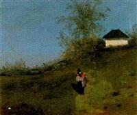 landschaft mit mutter und kind auf weg by franz-gustav arndt