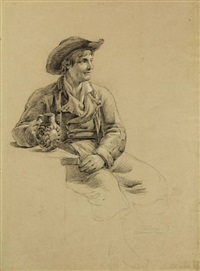 study of a seated man holding a mug in his hand by johannes christiaan schotel