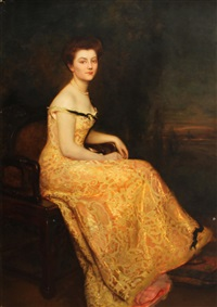 a portrait of a lady, full-length, seated, wearing an evening gown by gustave claude etienne courtois