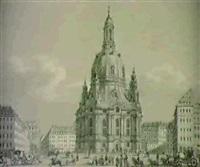 ansicht des neumarkts zu dresden mit der frauenkirche. by ernst arnold