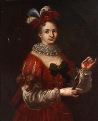 a portrait of a noblewoman with her pet bird by alexis grimou