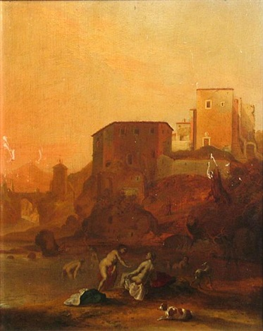 a landscape with women bathing by claes nicolas jacobsz tol