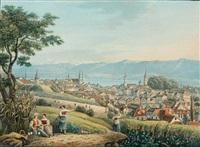 vue de la ville et du lac de zurich by johann hürlimann