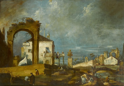 a capriccio with ruins and figures by francesco guardi