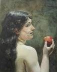 semi-nude woman looking over her shoulder and holding an apple by pierre (pieter) oyens