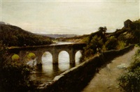 gunnislake bridge on the river tamar, cornwall by thomas gilbert white