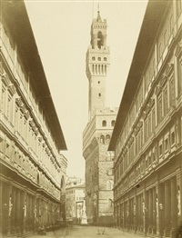 view of palazzo vecchio from the uffizi by leopoldo alinari