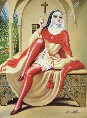 religieuse italienne fumant la cigarette by clovis trouille