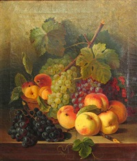 a still life of grapes and other fruit resting on a table by joseph correggio