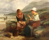 fishergirls mending nets on the beach by robert kemm