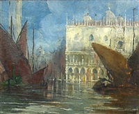 a view of the doge's palace, venice by gennaro favai