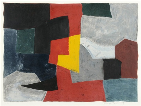 composition grise rouge et jaune by serge poliakoff