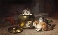 kittens in the kitchen by léon charles huber