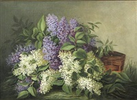 still life with purple and white lilacs by jessie s. brownlee