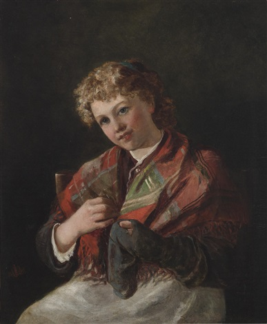 darning a sock by sir john everett millais