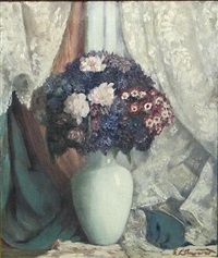 still life with flowers in a white vase by everett lloyd bryant
