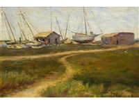 the boat yard, thought to be the oakland estuary by frances slater gelwicks