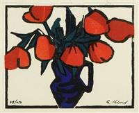 rote blumen in einer blauen vase by gernot kissel