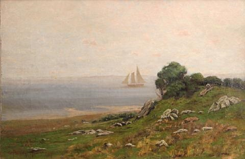 ship sailing off the coast thought to be san francisco bay by charles partridge adams