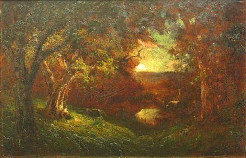 wooded landscape at sunset by jules r. mersfelder