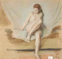 sitzender, weiblicher akt by oldrich homolác
