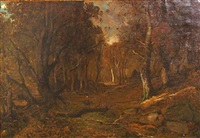 autumn, evening, forest of fontainebleau by c. harry allis