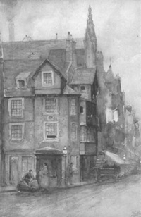 figures on corner near john knox' house by james little