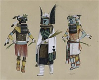 untitled, depicting angwusnasomtaqa, or tumas, the crow mother, flanked by two tungwup or whipper kachina dancers by fred kabotie